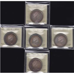 Nicely Toned Cased Silver Dollar all ICCS Graded - Lot of 5