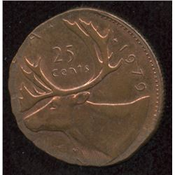 1987 Twenty-Five Cent Struck on One Cent Copper Planchet