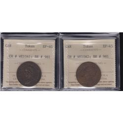BR 981. Pair of The Illustrious Wellington ½ penny tokens, 1816