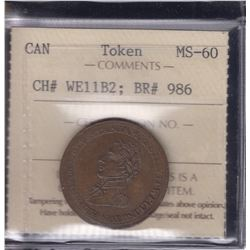 BR 986. Wellington Lower Canada ½ Penny Token