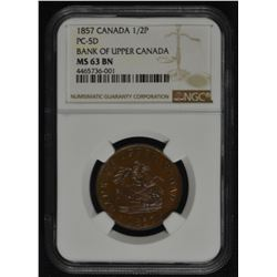 BR 720. Bank of Upper Canada One Half Penny, 1857.