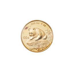 1999 CHINA PANDA 1 oz .999 Fine Gold 100 Yuan Coin People's Republic Mint