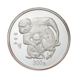 2004 China 300 Yuan 1kg kilo Silver Monkey