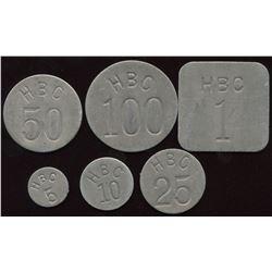 Hudson's Bay Company - Uniface tokens, incuse.