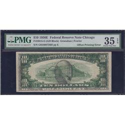 Error Note; USA - $10 1950E