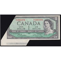 Bank of Canada $1, 1954 Major folding and cutting error.