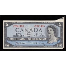 Bank of Canada $5, 1954 Folding & Cutting Error