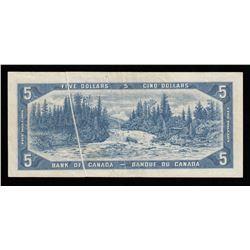 Bank of Canada $5, 1954 Pre-Print Crease Error