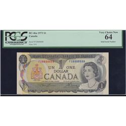 Bank of Canada $1, 1973 Solid Digit Radar