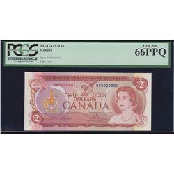 Bank of Canada $2, 1974 Serial #1