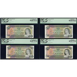 Bank of Canada $20, 1969 Solid Serial Numbered Set