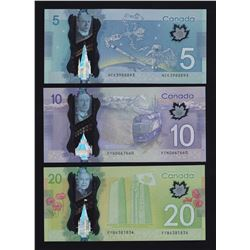 Bank of Canada Polymer Radar Notes - Type set lot of 3 Unc Notes