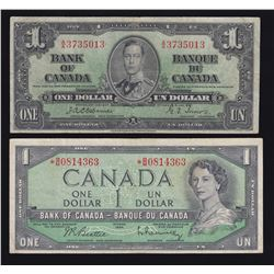 Bank of Canada $1, 1937 & 1954