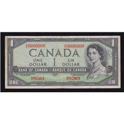 Bank of Canada $1, 1954 - Devil's Face Specimen