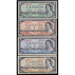 Bank of Canada $1, $2, $5 & $50, 1954 - Devil's Face