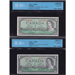 Bank of Canada $1, 1954 Lot of 2