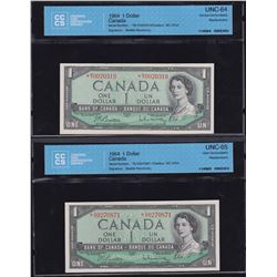 Bank of Canada $1, 1954 Replacement Lot of 2