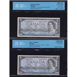 Bank of Canada $5, 1954 Replacement Lot of 2