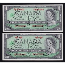 Bank of Canada $1 Specimen Pair, 1967