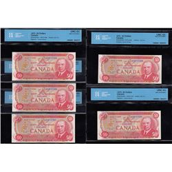 Bank of Canada $50, 1975 - Lot of 5 Consecutive