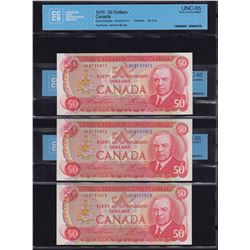 Bank of Canada $50, 1975 - Lot of 3 Consecutive