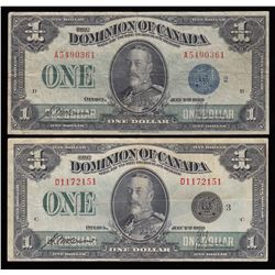 Lot of 2 Dominion of Canada $1, 1923