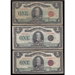 Lot of 3 Dominion of Canada $1, 1923