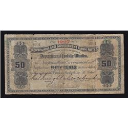 Newfoundland Government Cash Note 50 Cents, 1907