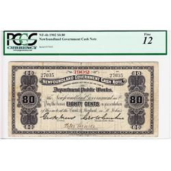 Newfoundland Government Cash Note 80 Cents, 1902