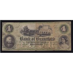 Bank of Brantford $4, 1859