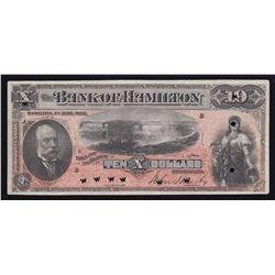 Bank of Hamilton $10, 1892