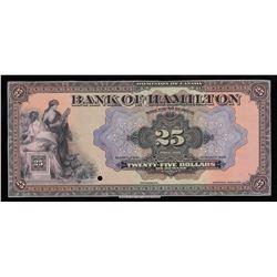 Bank of Hamilton $25, 1922