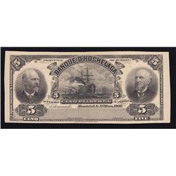 Banque D'Hochelaga $5, 1907