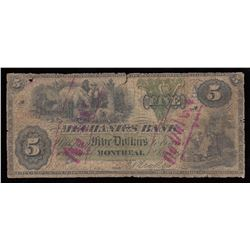 Mechanics Bank $5, 1872 Contemporary Counterfeit