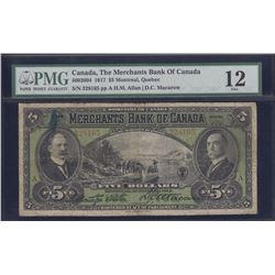Merchants Bank of Canada $5, 1917