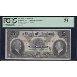 Bank of Montreal $5, 1931 - S Test Note