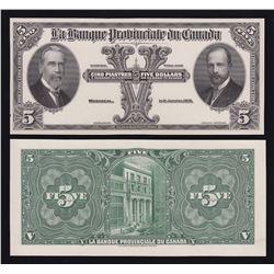 Banque Provinciale du Canada $5, 1913