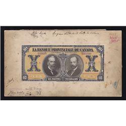 Banque Provinciale du Canada $10, 1913