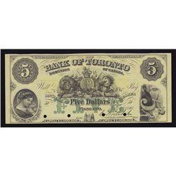 Bank of Toronto $5, 1890