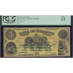 Bank of Toronto $5, 1911