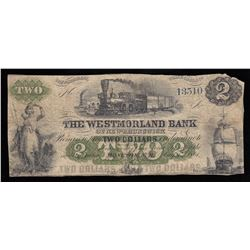 Westmorland Bank of New Brunswick $2, 1861