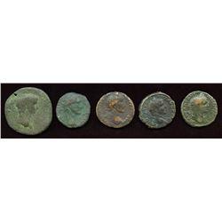 2nd Century Emperors - AE As + Claudius AR Sestertius. Lot of 5