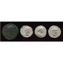 Mixed Roman: AR Denarius (3) + AE As (1) Group. Lot of 4