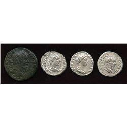 Mixed Roman: AR Denarius (3) + AE As (1) Group. Lot of 4