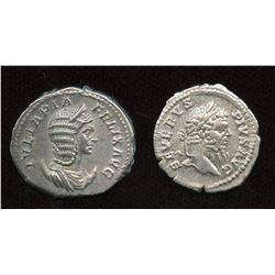 Septimius Severus (193-211 AD) & wife Julia Domna. Lot of 2