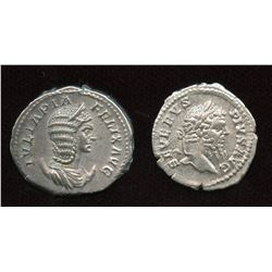 Septimius Severus (193-211 AD) & wife Julia Domna. Lot of 2