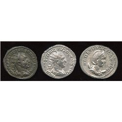 Mid 3rd Century Emperors. AR Antoninianus. Lot of 3