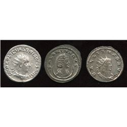 Valerian (253-260 AD) & Related Group. AR Antoninianus. Lot of 3