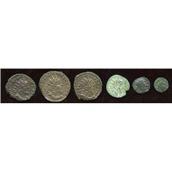 Gallic Empire + Barbarous Radiates. Billon Antoninianus. Lot of 6