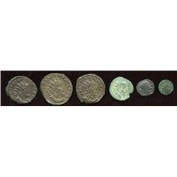Gallic Empire + Barbarous Radiates. Billon Antoninianus. Lot of 6